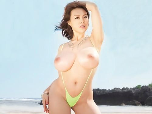 《中森玲子のラスト作品》『気持ちいいのぉぉ♥』ムチムチ垂れ乳・巨乳おっぱいの美魔女おばさんの砂浜の青姦SEXが激エロw