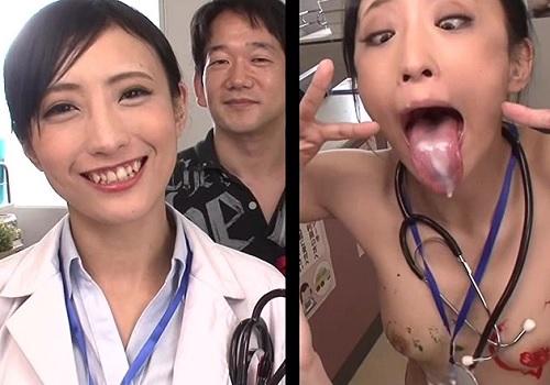 【おバカ企画】「ザー汁最高ぉ♥」卑猥な妄想をしてるナースと女医の頭の中を可視化!美乳おっぱい女医のアへ顔がヤバイww